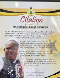 Citation for Patrick Okonkwo