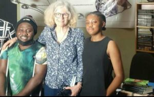Massawudu and Kathy Knowles at the technical room of the Book Club