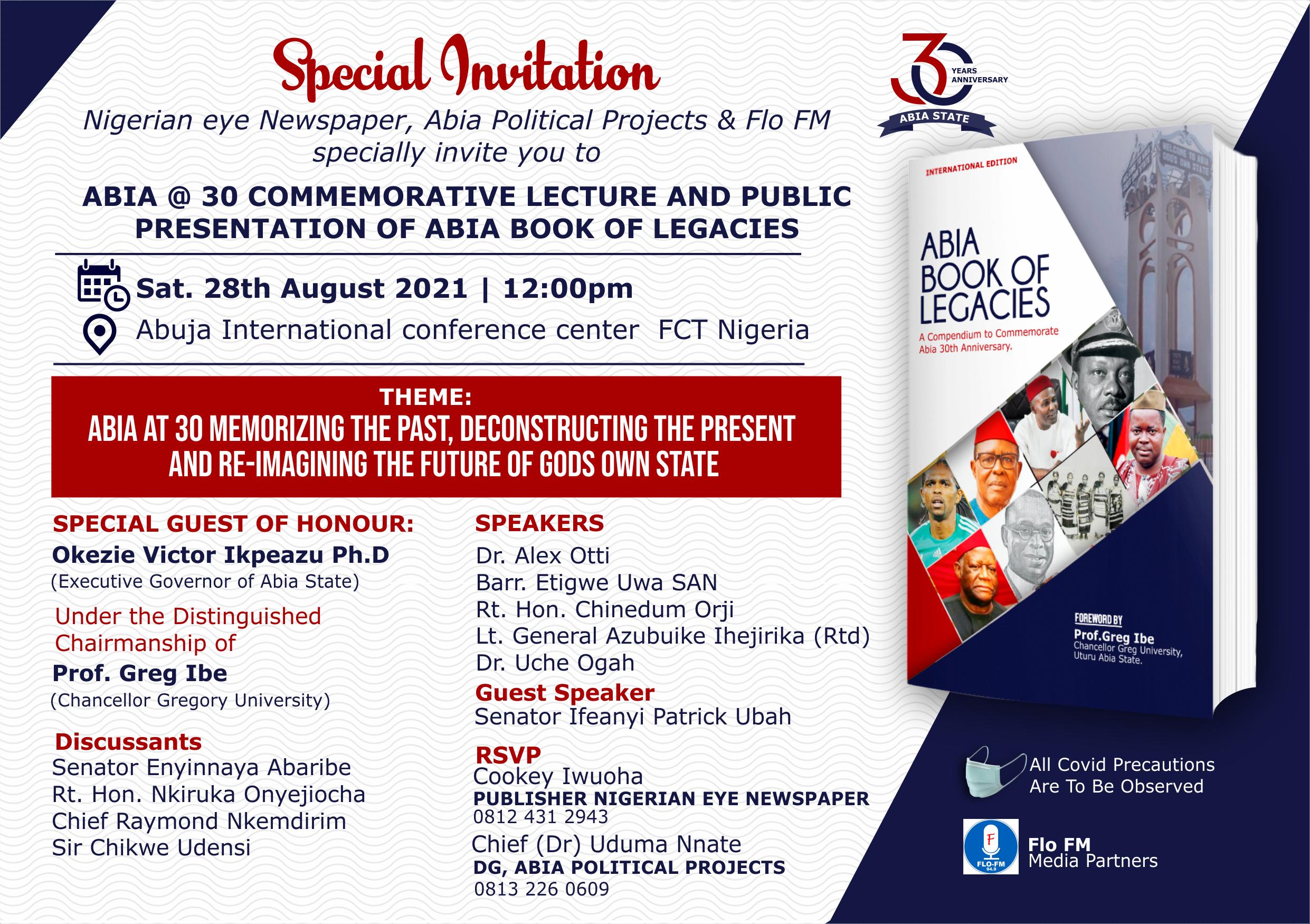 www.nigerianeyenewspaper.com-ABIA-@-30-Commemorative-Lecture-Abuja-Invitation