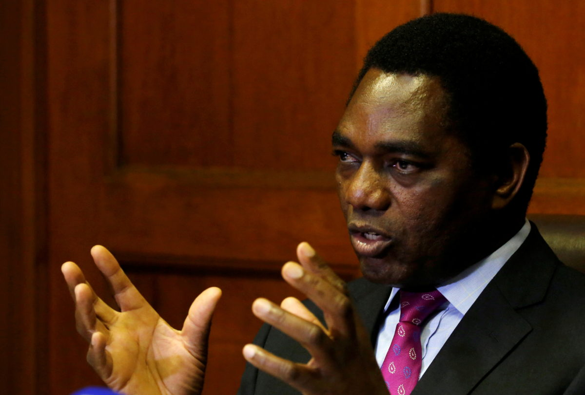 FILE PHOTO: Hakainde Hichilema, leader of ZambiaÕs opposition United Party for National Development (UPND), addresses a media conference in Cape Town, South Africa, August 31, 2017. REUTERS/Mike Hutchings/File Photo